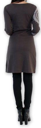 Robe courte à manches longues Ethnique et Chic Coquelico Marron 274397