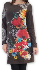 Robe courte à manches longues Ethnique et Chic Coquelico Marron 274399