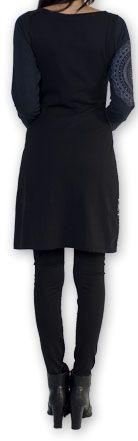 Robe courte à manches longues Ethnique et Chic Coquelico Noire 274393