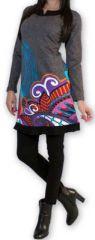 Robe courte à manches longues Ethnique et Chic Edelwei Grise 274424