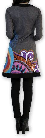 Robe courte à manches longues Ethnique et Chic Edelwei Grise 274425