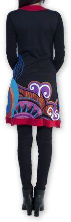 Robe courte à manches longues Ethnique et Chic Edelwei Noire 274421