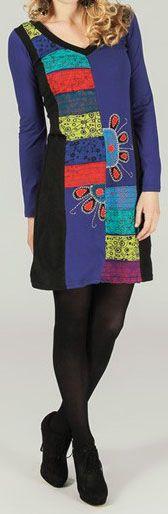 Robe courte à manches longues ethnique et colorée  Alanis 273756