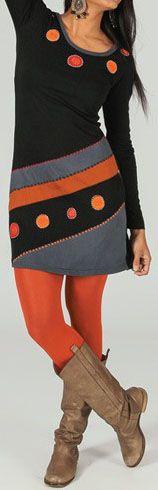 Robe courte à manches longues ethnique et colorée Amarine 273761