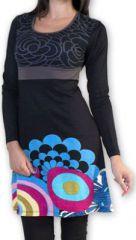 Robe courte à manches longues Ethnique et Colorée Annemone 274336