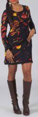 Robe courte � manches longues Ethnique et Color�e Liana Noire 274985