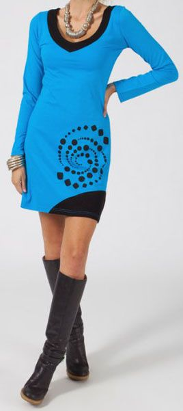 Robe courte à manches longues Ethnique et Colorée Mazarine 275076