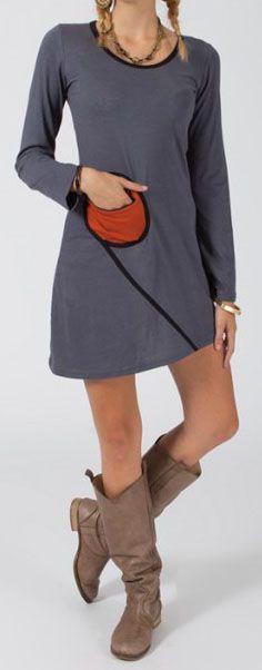 Robe courte à manches longues Ethnique et Colorée Michèle Grise 275083