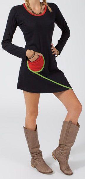 Robe courte à manches longues Ethnique et Colorée Michèle Noire 275084