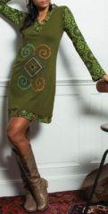 Robe courte à manches longues ethnique et colorée Népala Verte 273814