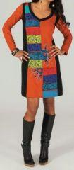 Robe courte � manches longues ethnique et color�e Orange Alanis 273713