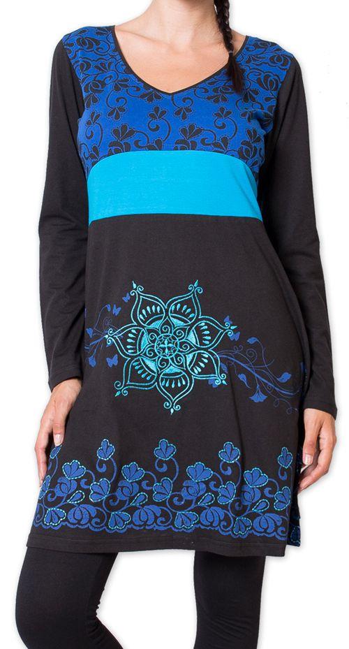 Robe courte à manches longues Ethnique et Colorée Parnaiby Noire 275995