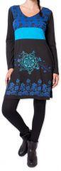 Robe courte à manches longues Ethnique et Colorée Parnaiby Noire 275997
