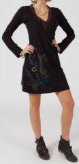 Robe courte à manches longues Ethnique et Colorée Ralya Noire 275208