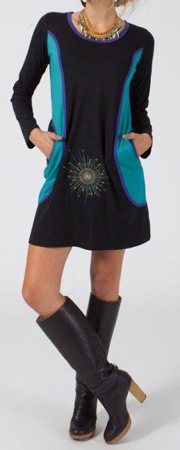 Robe courte à manches longues Ethnique et Colorée Renea 275221