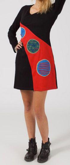 Robe courte à manches longues Ethnique et Colorée Robine 275230