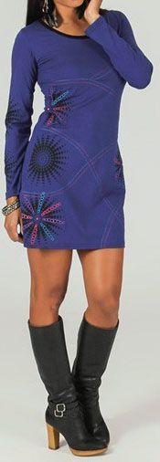 Robe courte à manches longues ethnique et imprimée Bleue Dao 273798
