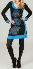 Robe courte � manches longues ethnique et imprim�e Dayane 273783