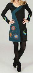 Robe courte � manches longues ethnique et imprim�e Faelle 273794