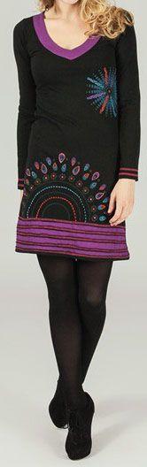 Robe courte à manches longues ethnique et imprimée Noire Antéa 273757