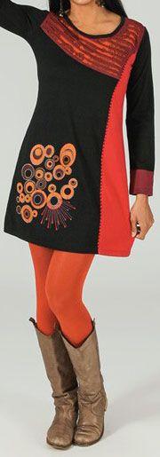 Robe courte à manches longues ethnique et imprimée Noire Aurèle 273759
