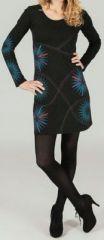 Robe courte � manches longues ethnique et imprim�e Noire Dao 273799