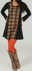 Robe courte à manches longues Ethnique et Imprimée Noire Ebana 274076