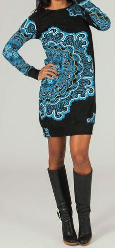 Robe courte à manches longues Ethnique et Imprimée Yona 274274