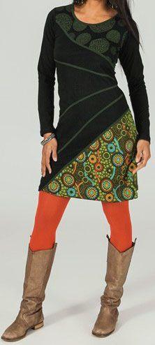 Robe courte à manches longues ethnique et originale Hélie 273810
