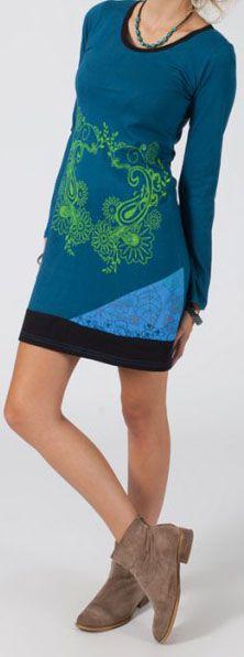 Robe courte à manches longues Ethnique et Originale Iliana Bleue 274833