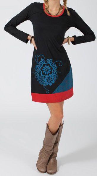 Robe courte à manches longues Ethnique et Originale Iliana Noire 274834