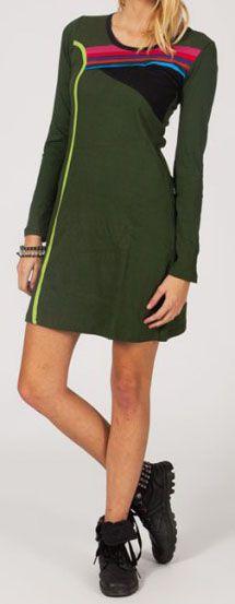 Robe courte à manches longues Ethnique et Originale Janie verte 274843