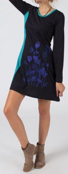 Robe courte à manches longues Ethnique et Originale Mariella Noire et Bleue 275068