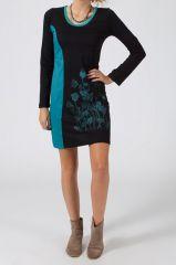 Robe courte à manches longues Ethnique et Originale Mariella Noire et Bleue 318750
