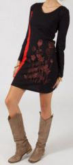 Robe courte � manches longues Ethnique et Originale Mariella Noire et Rouge 275066