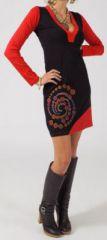 Robe courte à manches longues Ethnique et Originale Marwa Noire 275070