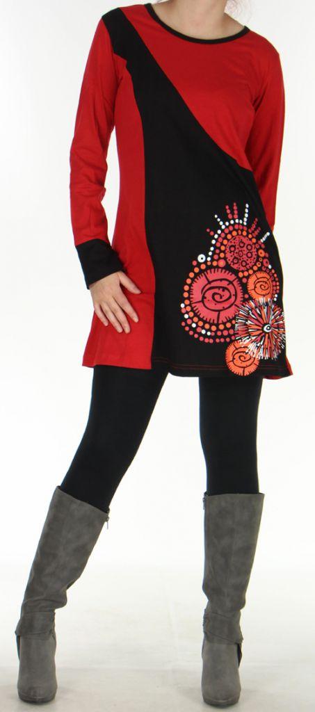 Robe courte à manches longues Ethnique et Pas chère Vanina Rouge 276441