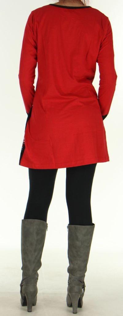 Robe courte à manches longues Ethnique et Pas chère Vanina Rouge 276442