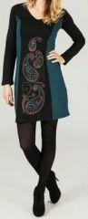 Robe courte à manches longues Noire ethnique Airelle 273704