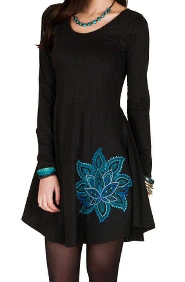 Robe courte à manches longues Noire évasée et imprimée Alix 300975