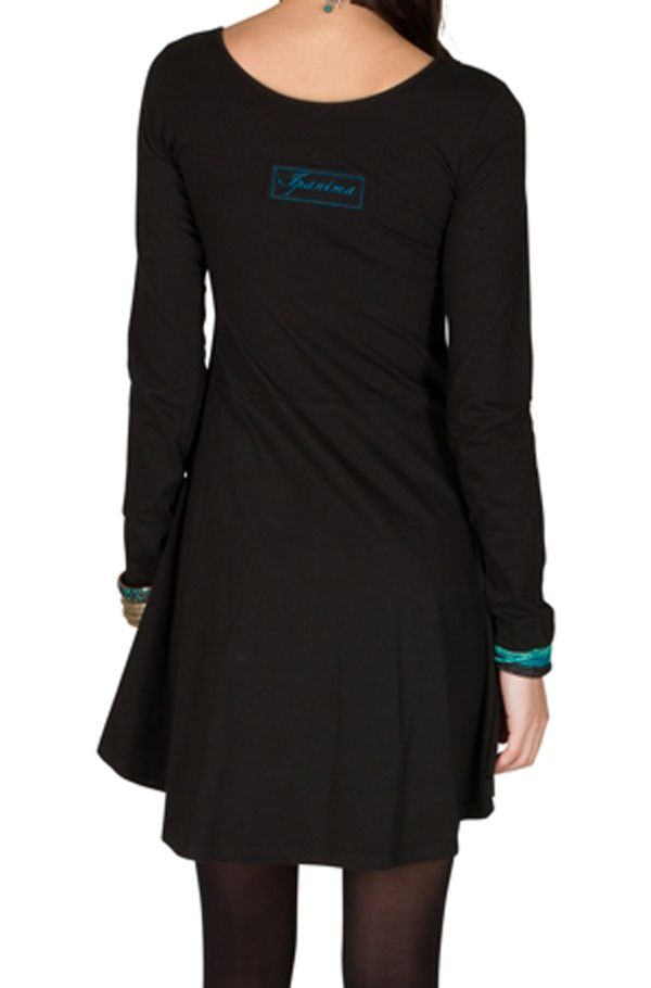 Robe courte à manches longues Noire évasée et imprimée Alix 300977