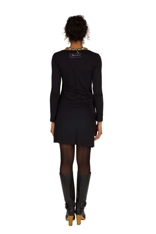 Robe courte à manches longues Noire imprimée avec poches et col rond Emy 301195