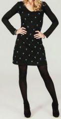 Robe courte � manches longues Noire imprim�e Bleu Aela 273684