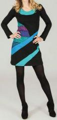 Robe courte à manches longues Noire imprimée Bleu Aglaé 273694