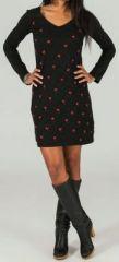Robe courte � manches longues Noire imprim�e Rouge Aela 273682
