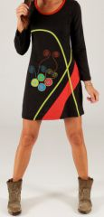 Robe courte à manches longues Originale et Colorée Akoustia Noire 279688