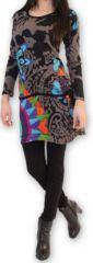 Robe courte à manches longues Originale et Colorée Jacynthe Grise 274433