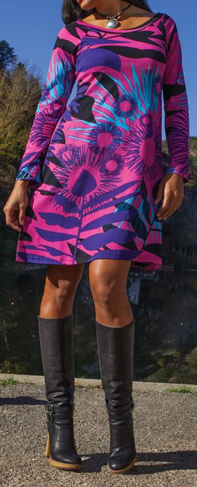 Robe courte à manches longues Originale et Colorée Lésia Rose 274971