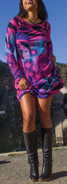 Robe courte à manches longues Originale et Colorée Lésia Rose 274972