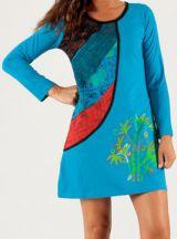 Robe courte à manches longues Originale et Colorée Minorque Bleue 279701